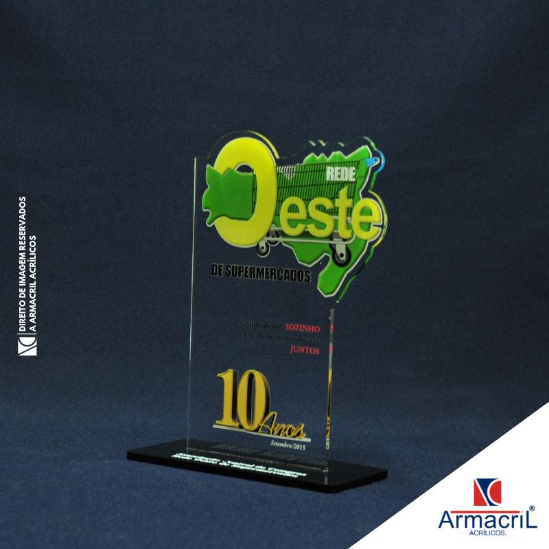 Troféu de Acrílico em Branco Melhor Preço Ipiranga - Troféu de Acrílico para Personalizar